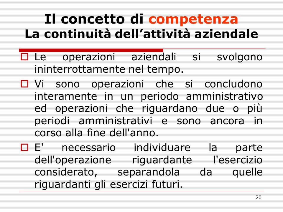 Il concetto di competenza La continuità dell'attività aziendale