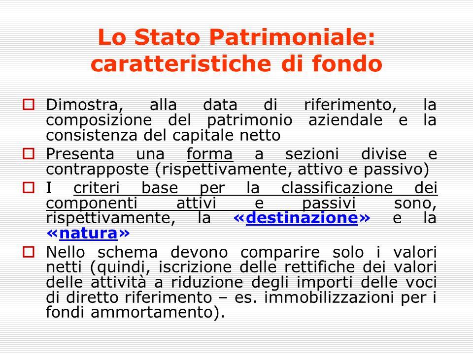 Lo Stato Patrimoniale: caratteristiche di fondo