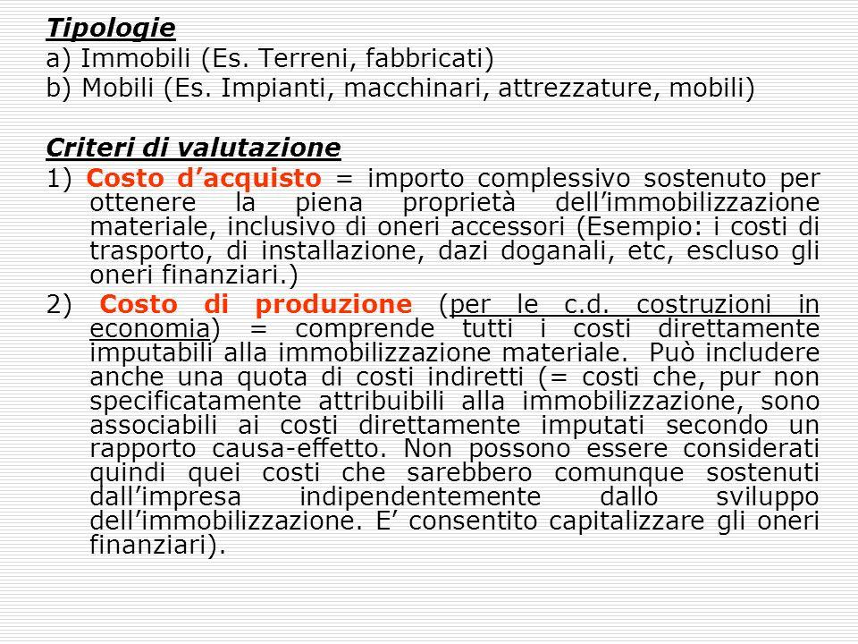 Tipologie a) Immobili (Es. Terreni, fabbricati) b) Mobili (Es. Impianti, macchinari, attrezzature, mobili)