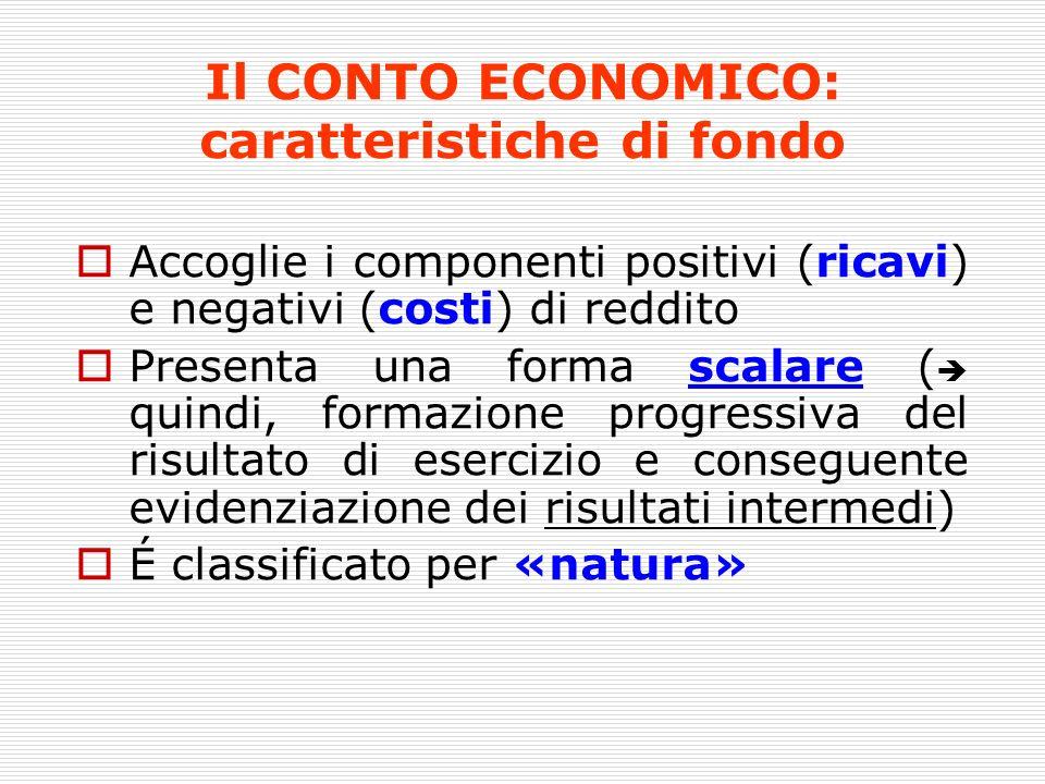 Il CONTO ECONOMICO: caratteristiche di fondo