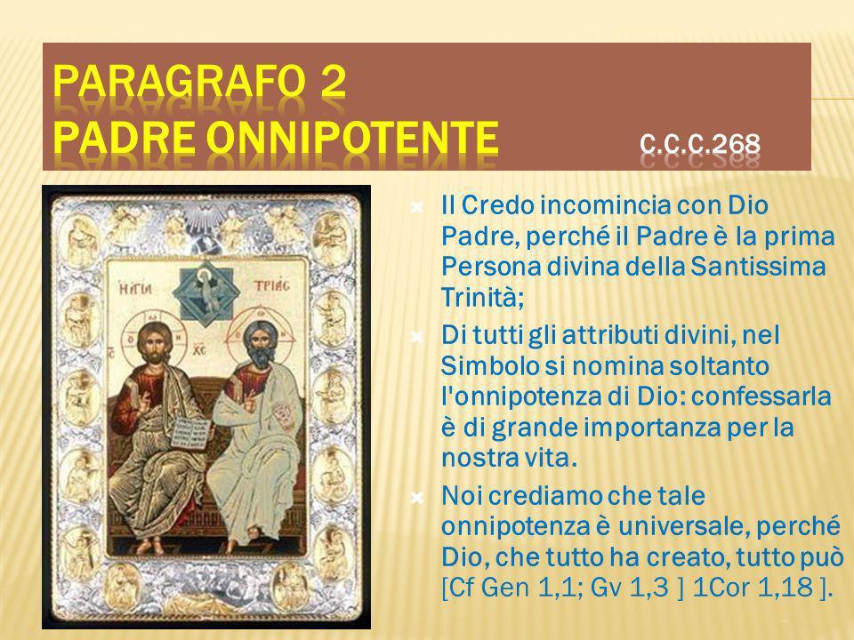 Paragrafo 2 Padre onnipotente C.C.C.268