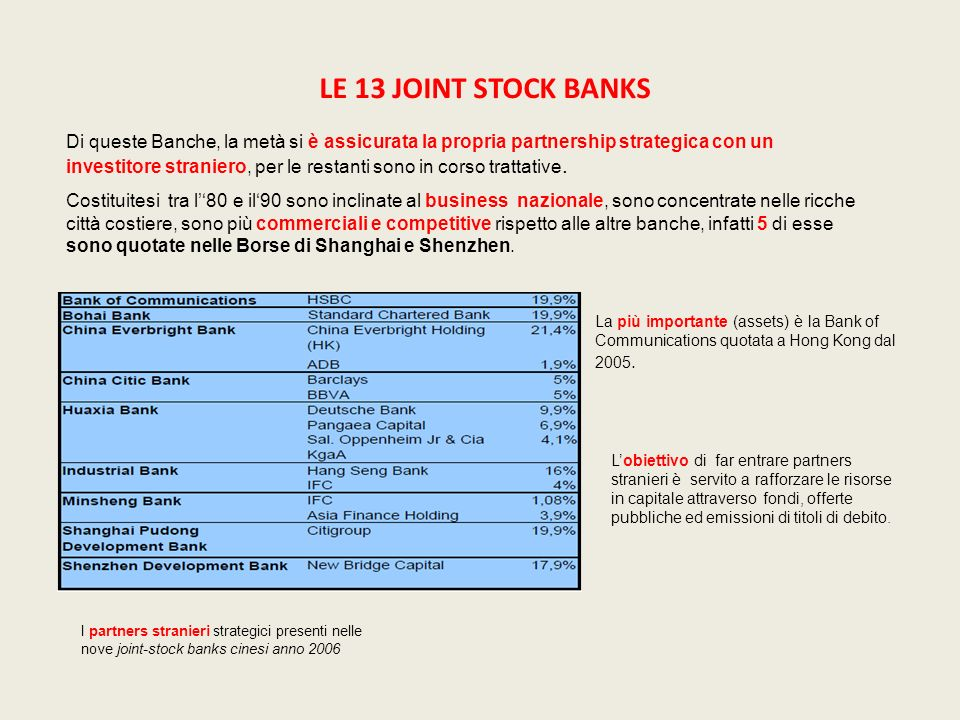 LE 13 JOINT STOCK BANKS