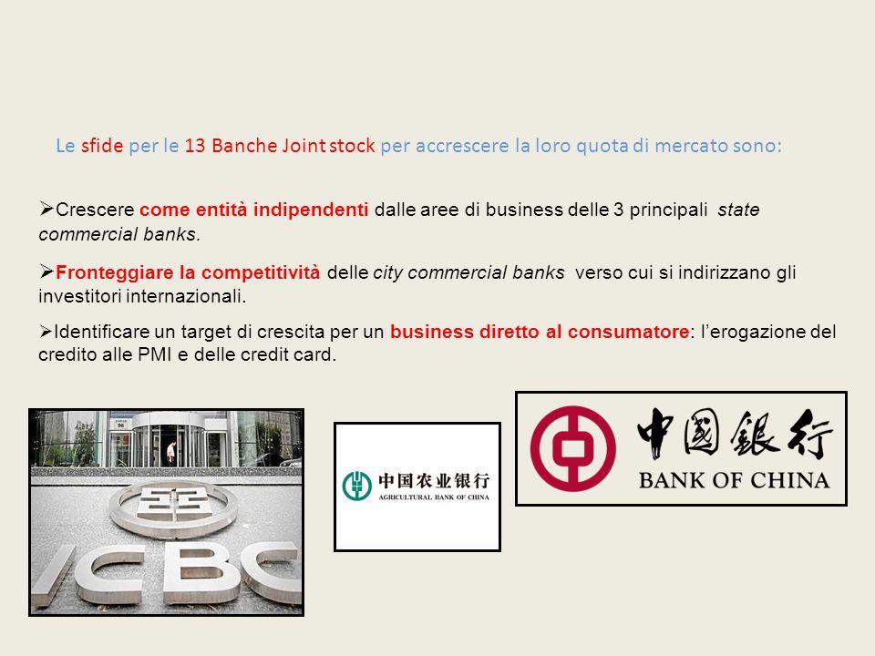 Le sfide per le 13 Banche Joint stock per accrescere la loro quota di mercato sono: