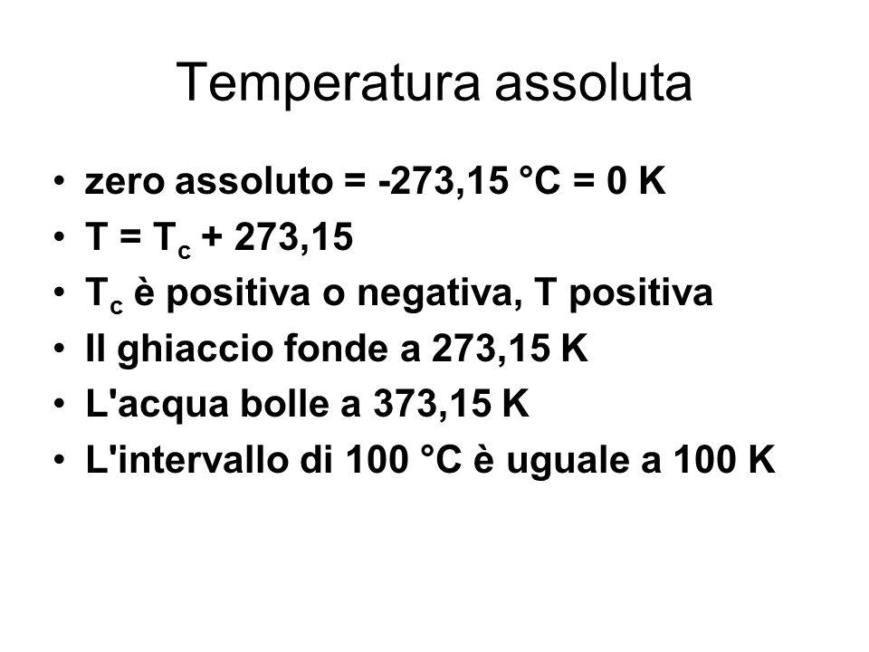 Temperatura assoluta zero assoluto = -273,15 °C = 0 K T = Tc + 273,15