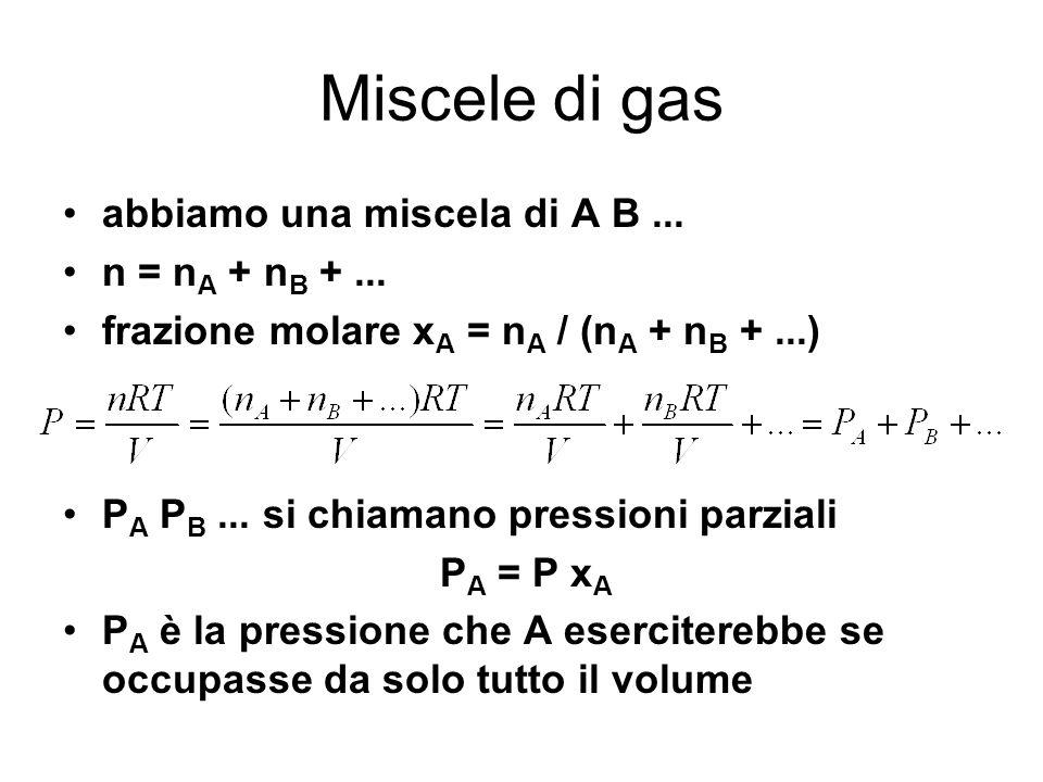 Miscele di gas abbiamo una miscela di A B ... n = nA + nB + ...