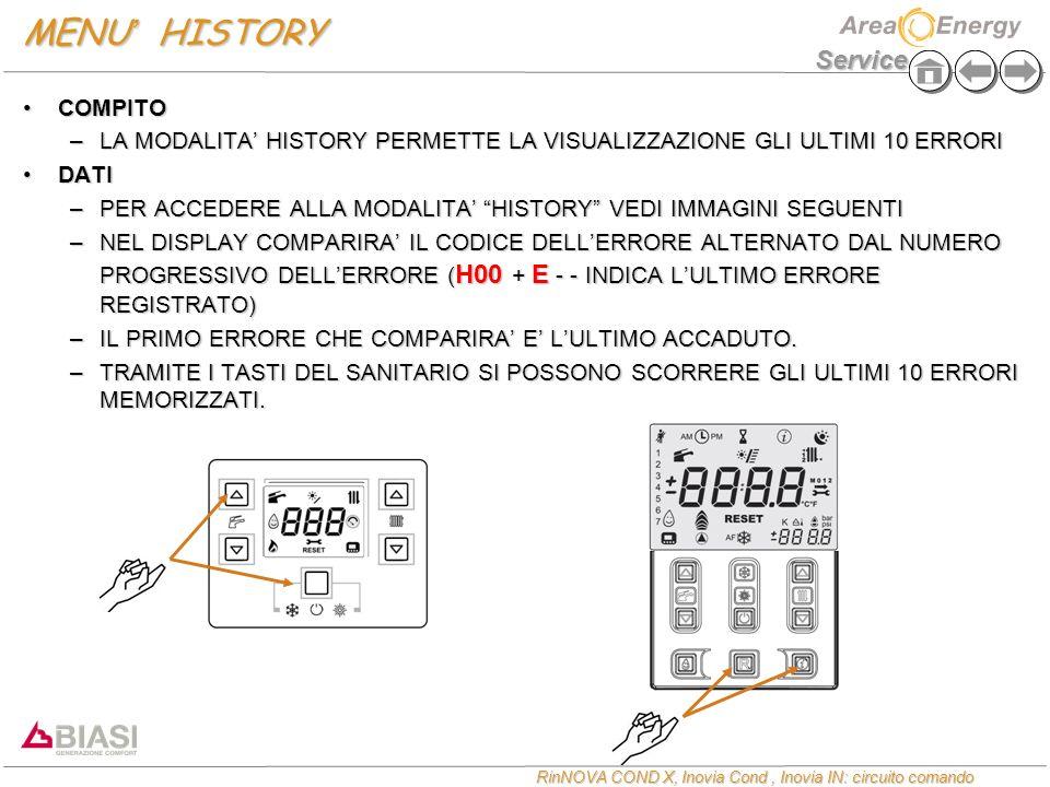 MENU' HISTORY COMPITO. LA MODALITA' HISTORY PERMETTE LA VISUALIZZAZIONE GLI ULTIMI 10 ERRORI. DATI.