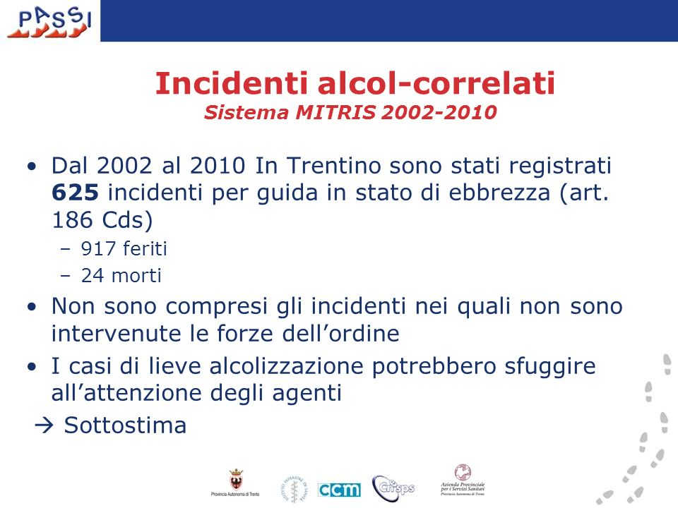 Incidenti alcol-correlati Sistema MITRIS 2002-2010