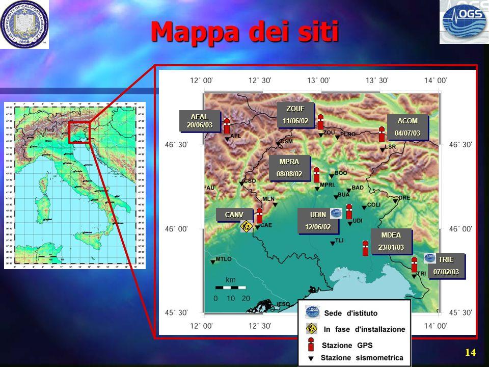 Mappa dei siti ZOUF 11/06/02 AFAL 20/06/03 ACOM 04/07/03 MPRA 08/08/02