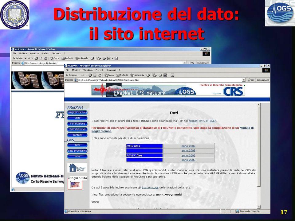 Distribuzione del dato: il sito internet