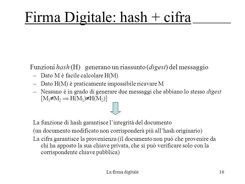 Firma Digitale: hash + cifra