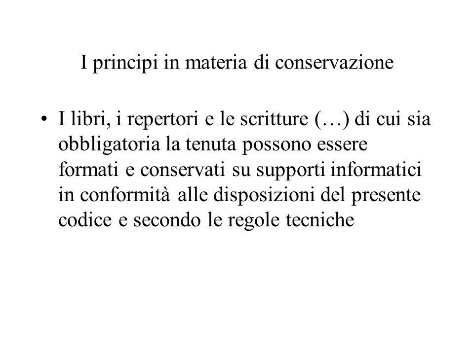 I principi in materia di conservazione