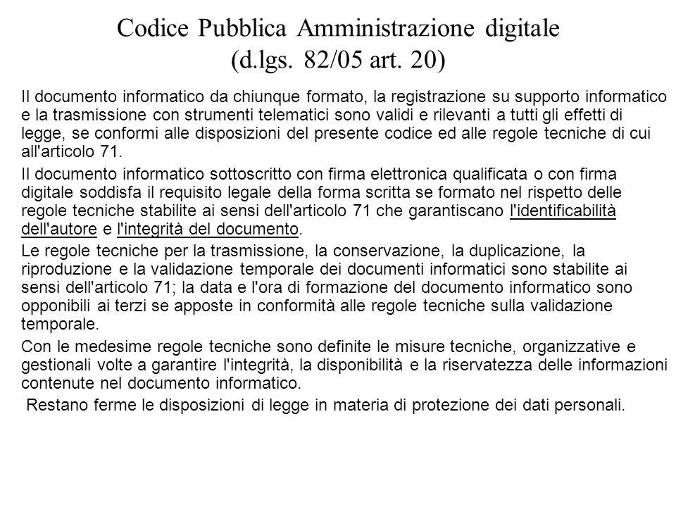 Codice Pubblica Amministrazione digitale (d.lgs. 82/05 art. 20)
