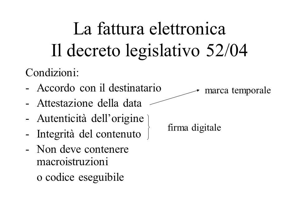 La fattura elettronica Il decreto legislativo 52/04