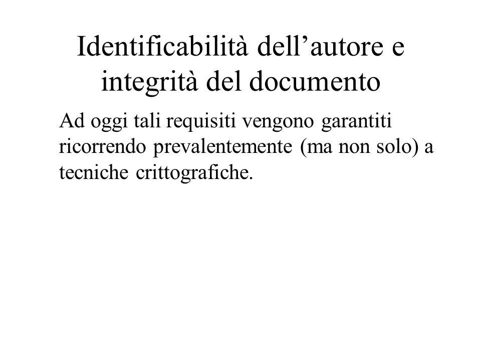 Identificabilità dell'autore e integrità del documento