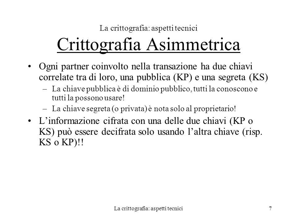 La crittografia: aspetti tecnici Crittografia Asimmetrica