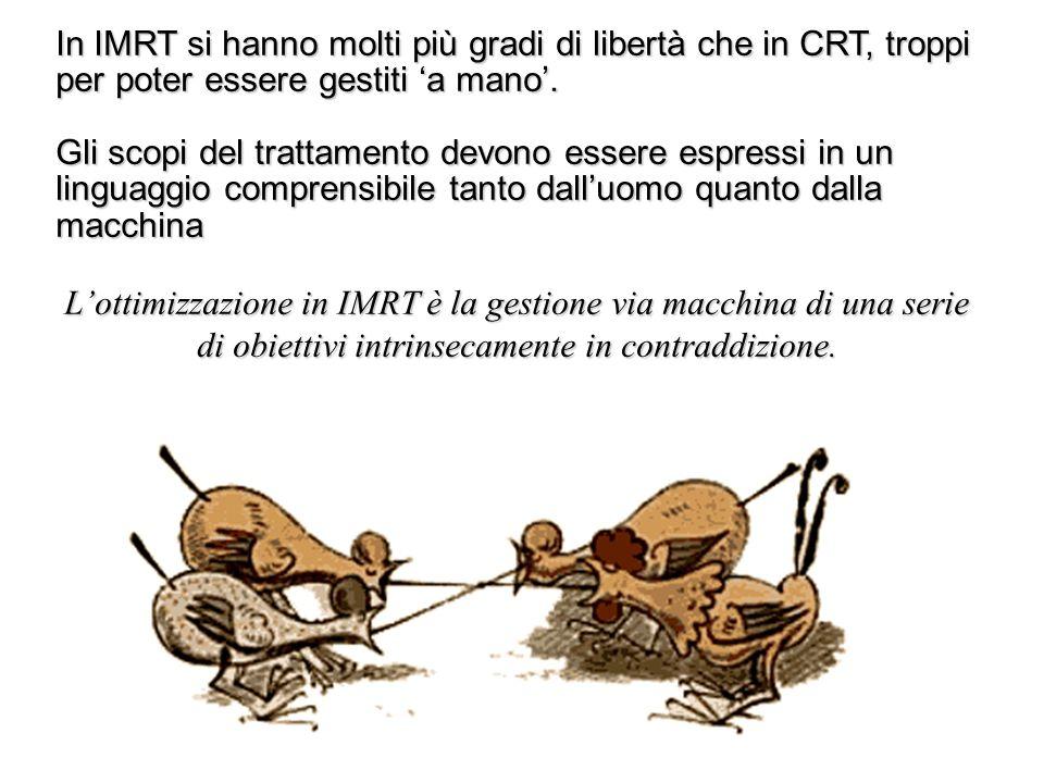In IMRT si hanno molti più gradi di libertà che in CRT, troppi per poter essere gestiti 'a mano'.