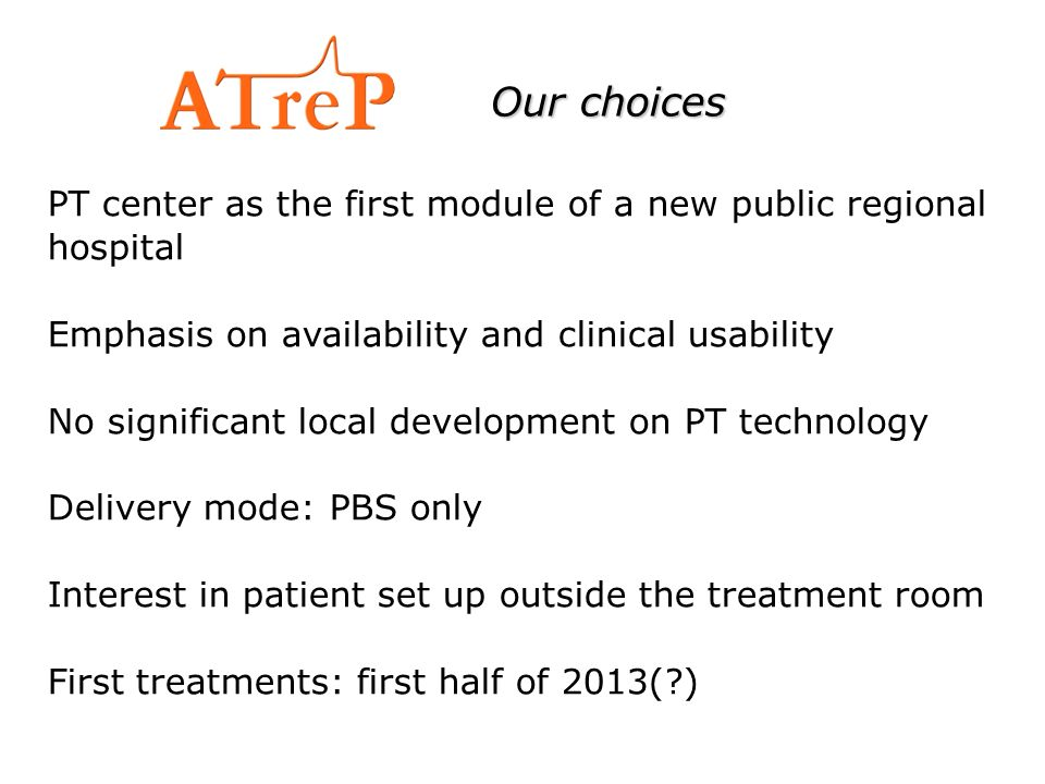 Our choices PT center as the first module of a new public regional hospital. Emphasis on availability and clinical usability.