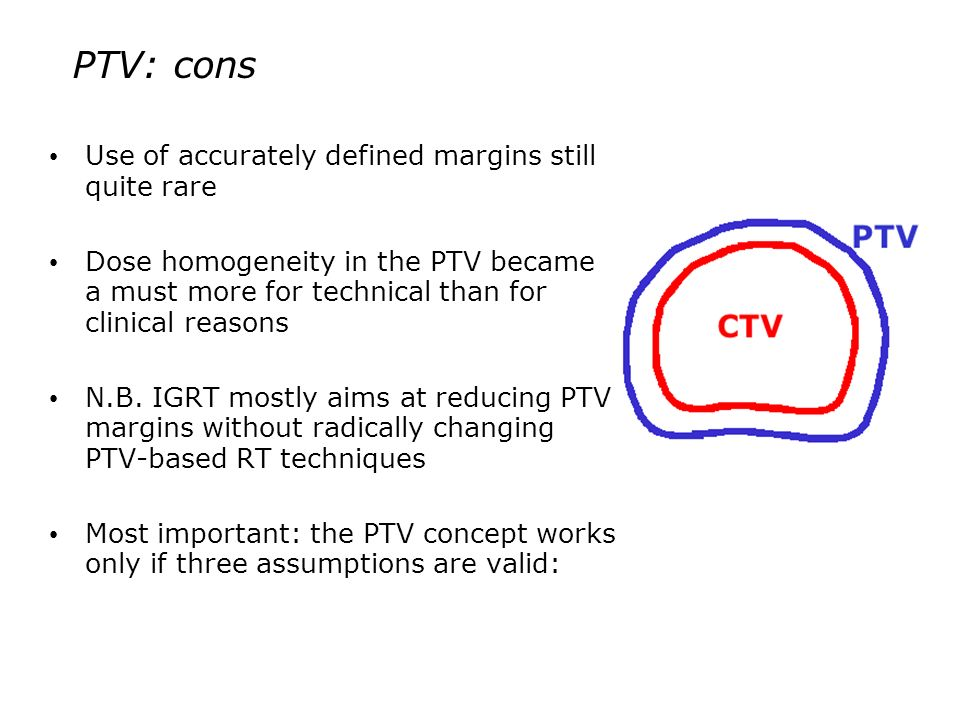 PTV: cons Use of accurately defined margins still quite rare