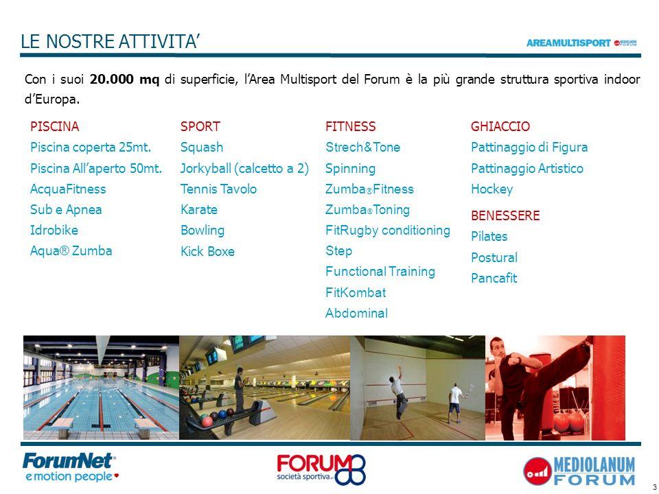 LE NOSTRE ATTIVITA' Con i suoi 20.000 mq di superficie, l'Area Multisport del Forum è la più grande struttura sportiva indoor d'Europa.