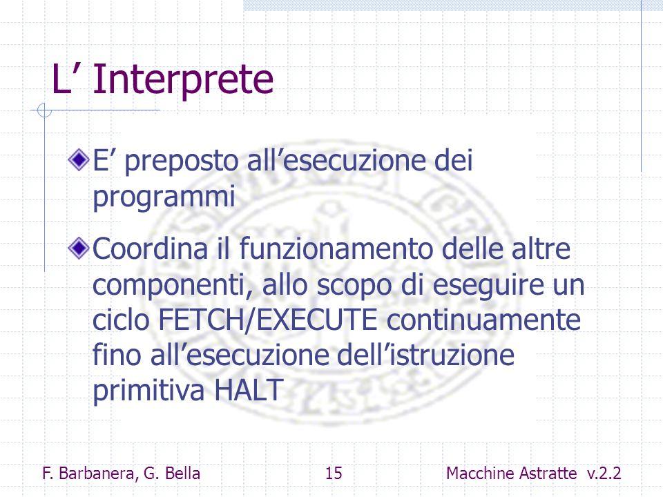 L' Interprete E' preposto all'esecuzione dei programmi