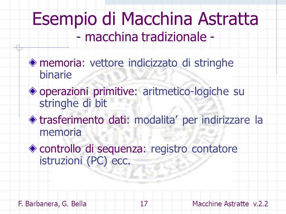 Esempio di Macchina Astratta - macchina tradizionale -