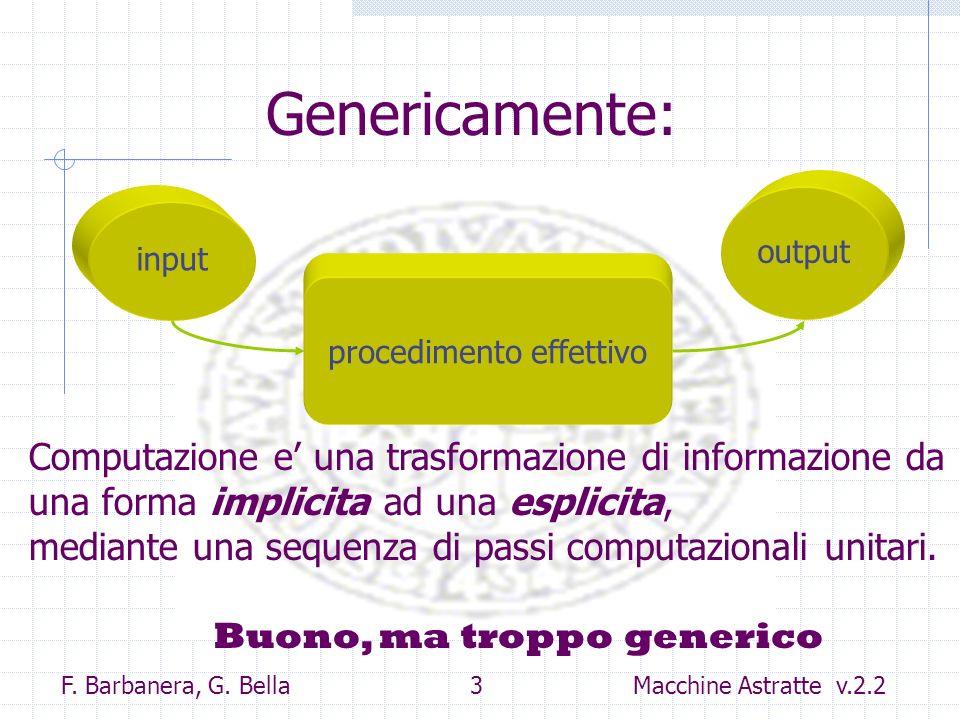 Genericamente: output. input. procedimento effettivo. Computazione e' una trasformazione di informazione da una forma implicita ad una esplicita,