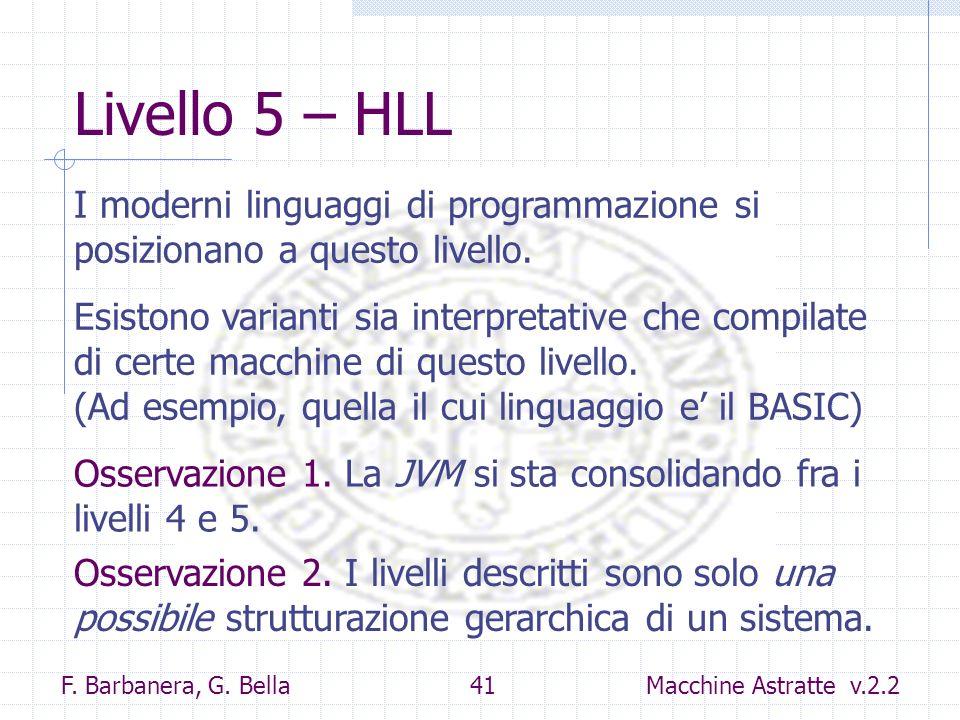 Livello 5 – HLL I moderni linguaggi di programmazione si posizionano a questo livello.