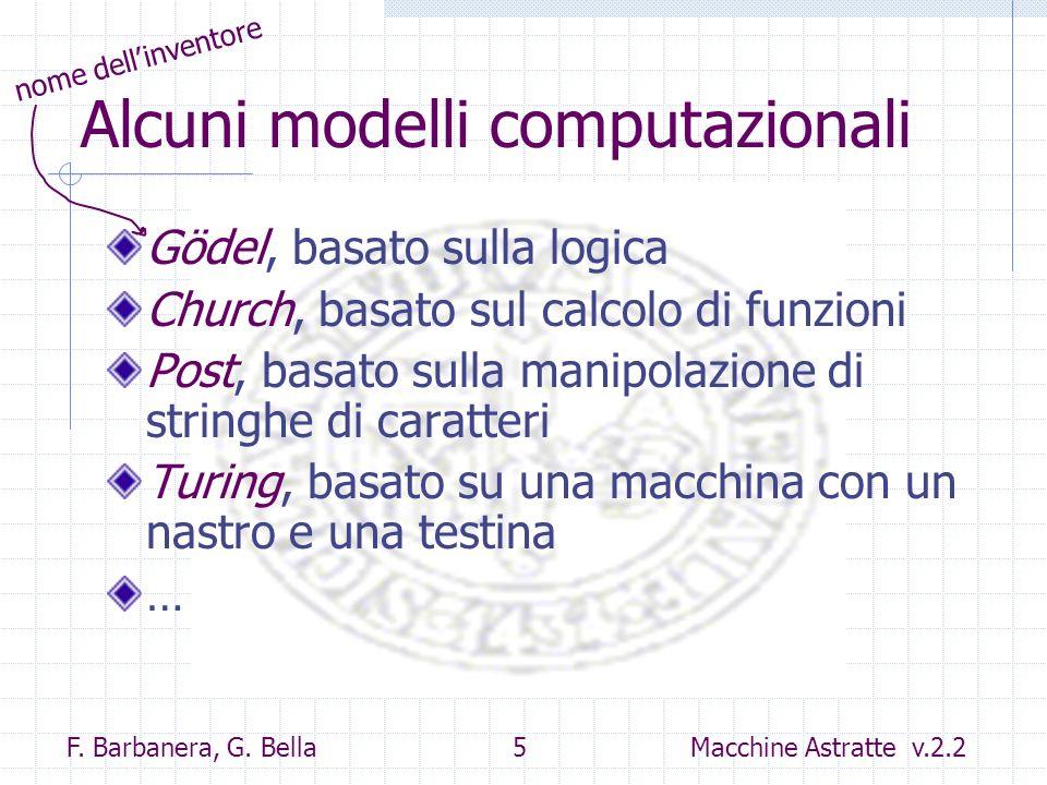 Alcuni modelli computazionali
