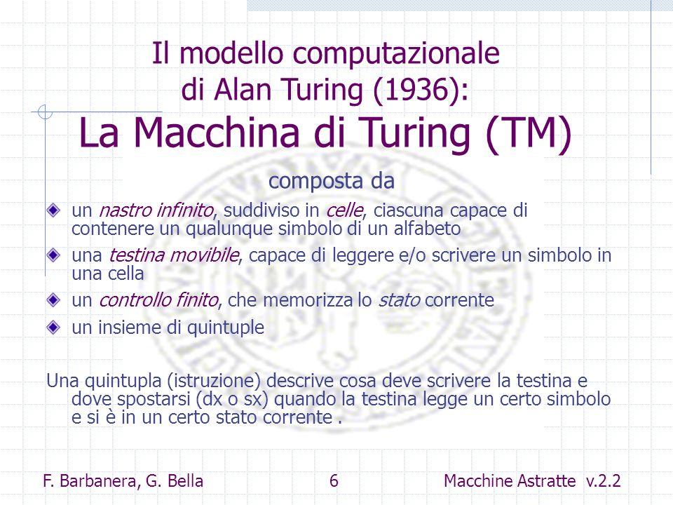 Il modello computazionale di Alan Turing (1936): La Macchina di Turing (TM)