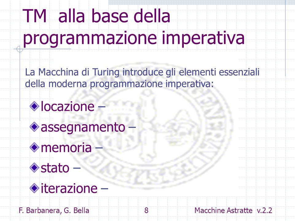 TM alla base della programmazione imperativa