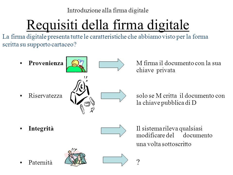Introduzione alla firma digitale Requisiti della firma digitale