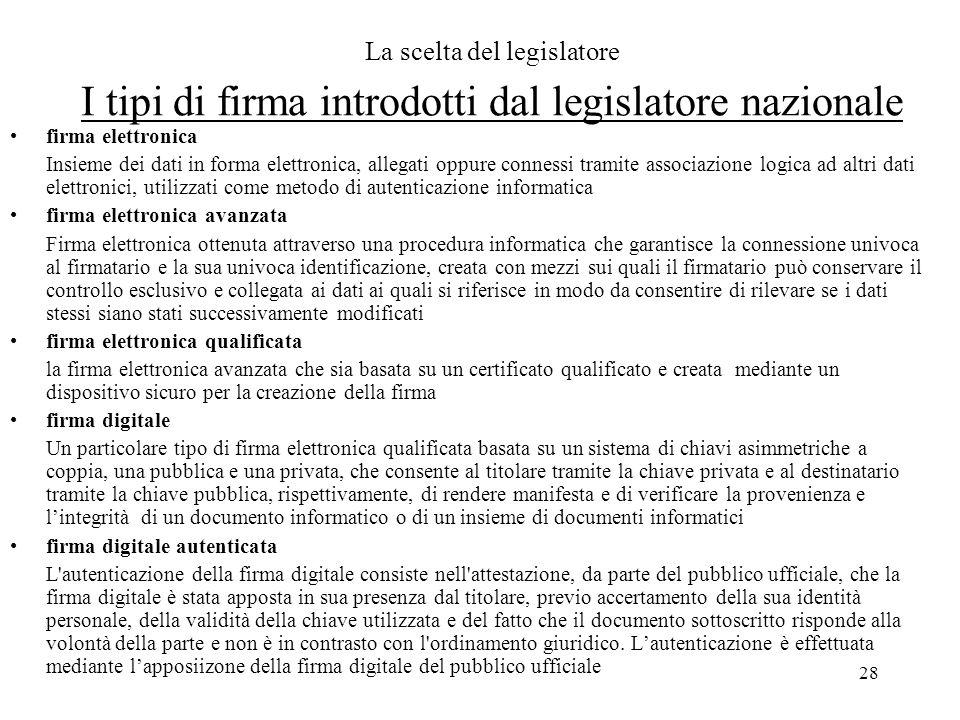 La scelta del legislatore I tipi di firma introdotti dal legislatore nazionale