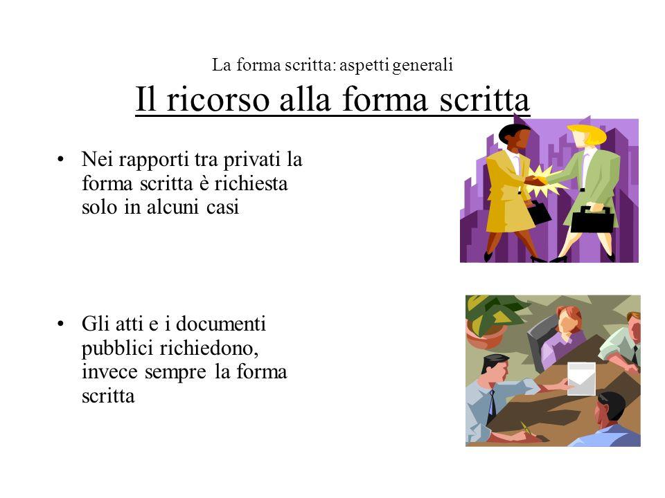 La forma scritta: aspetti generali Il ricorso alla forma scritta