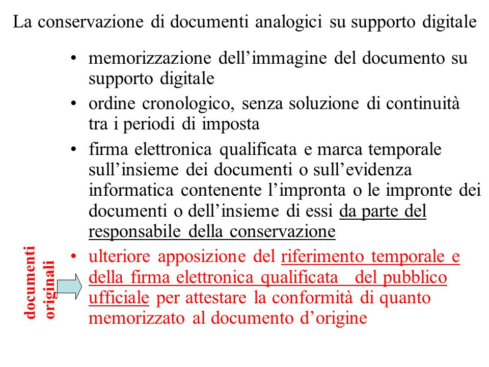 La conservazione di documenti analogici su supporto digitale