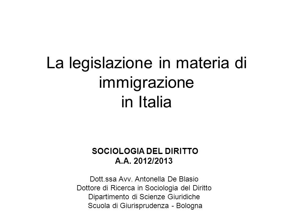 La legislazione in materia di immigrazione in Italia