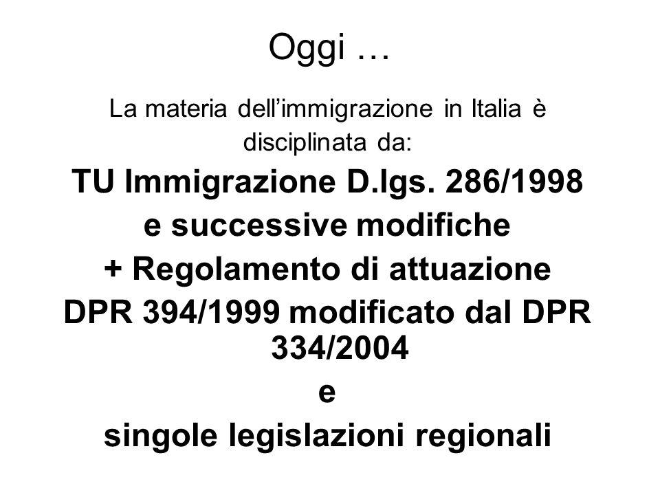Oggi … TU Immigrazione D.lgs. 286/1998 e successive modifiche