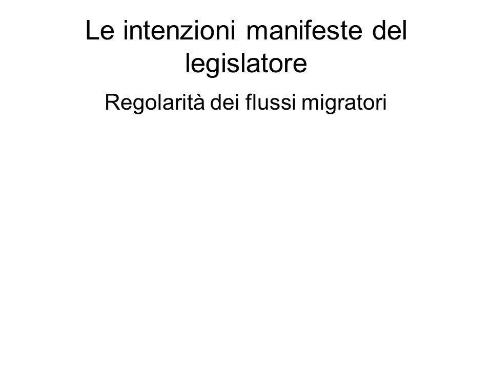 Le intenzioni manifeste del legislatore