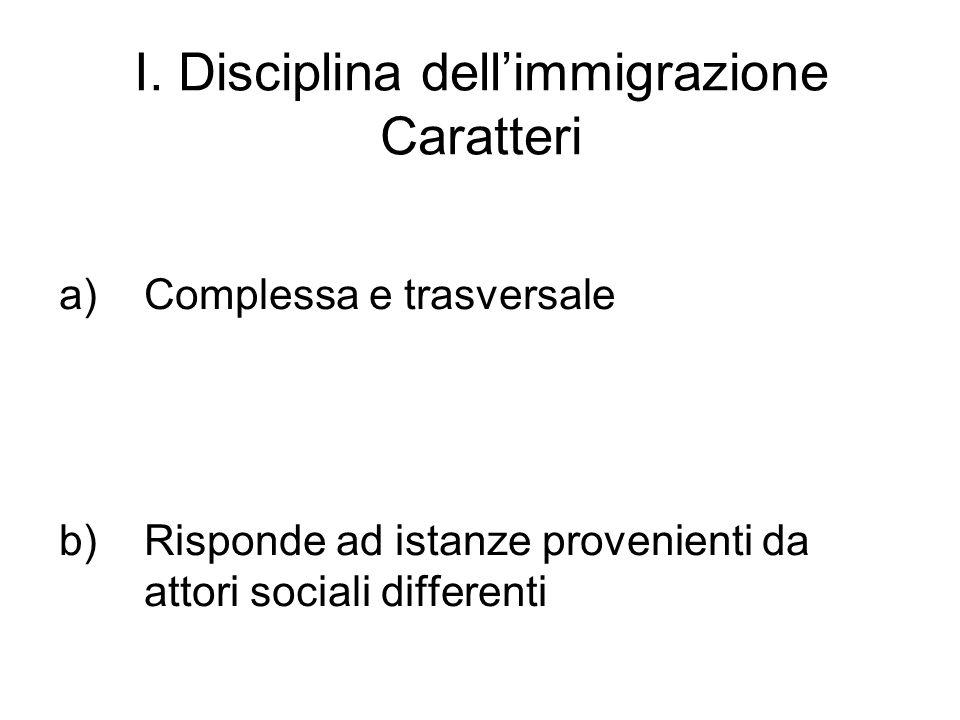 I. Disciplina dell'immigrazione Caratteri