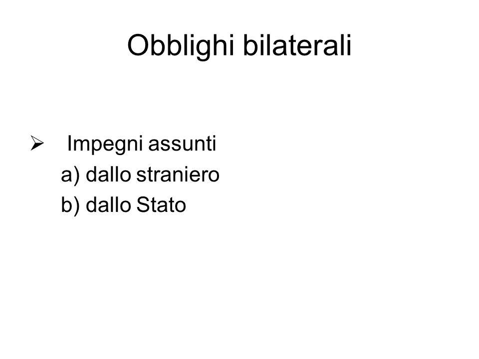 Obblighi bilaterali Impegni assunti a) dallo straniero b) dallo Stato