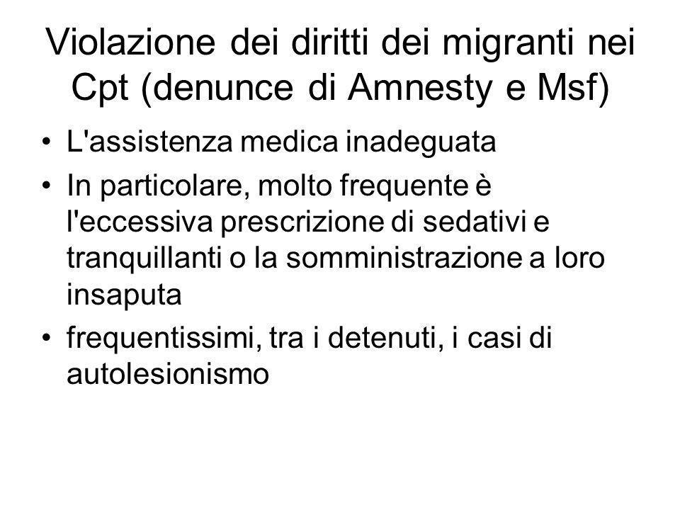 Violazione dei diritti dei migranti nei Cpt (denunce di Amnesty e Msf)