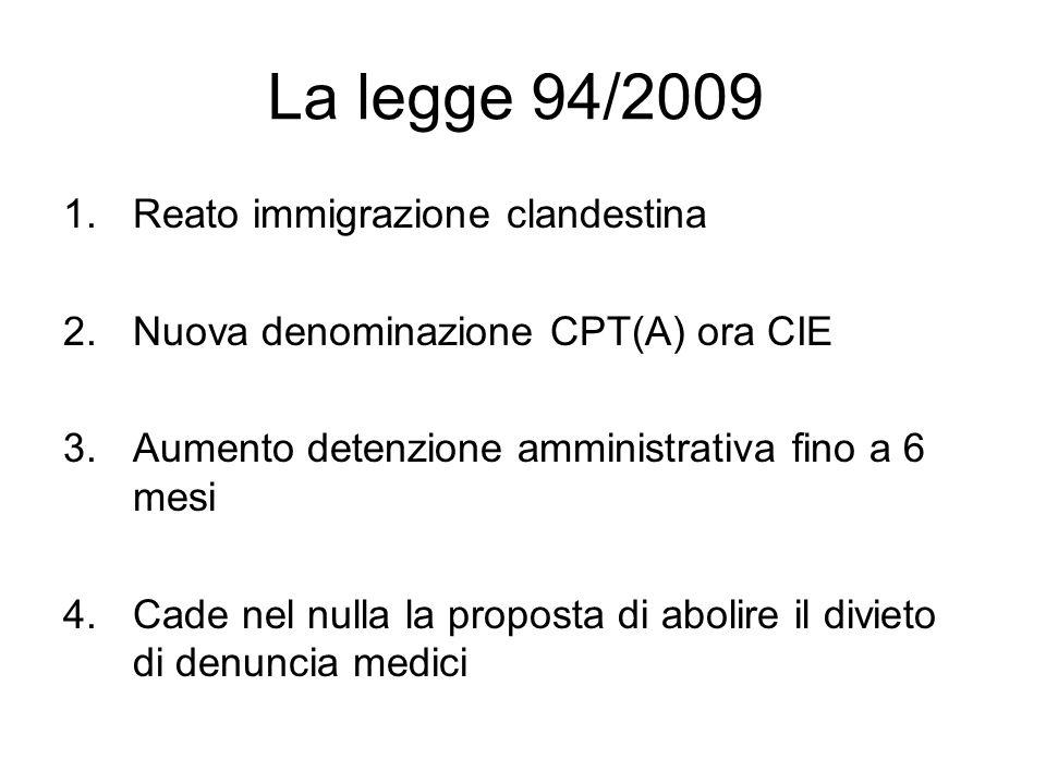 La legge 94/2009 Reato immigrazione clandestina