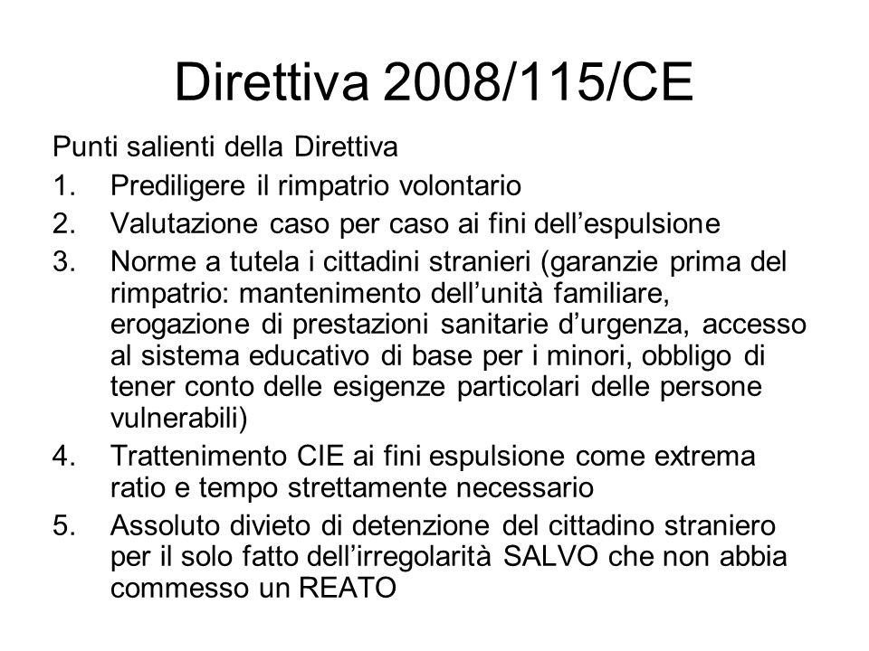 Direttiva 2008/115/CE Punti salienti della Direttiva