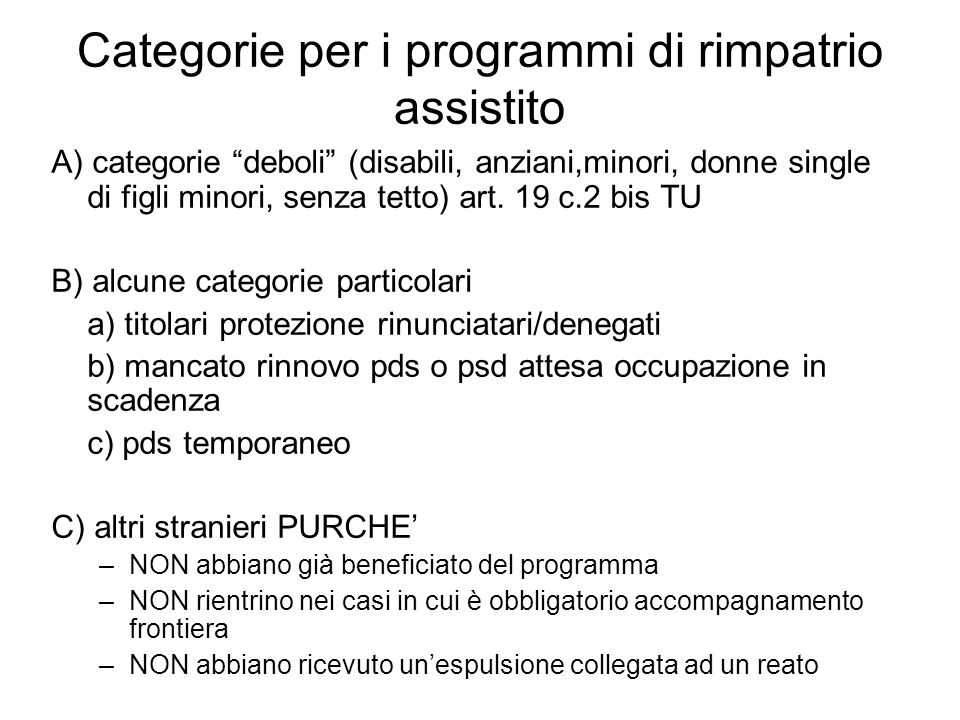 Categorie per i programmi di rimpatrio assistito