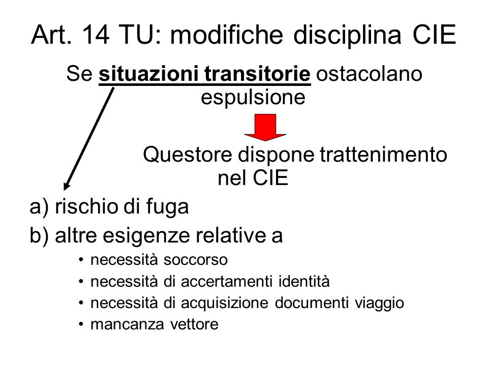 Art. 14 TU: modifiche disciplina CIE