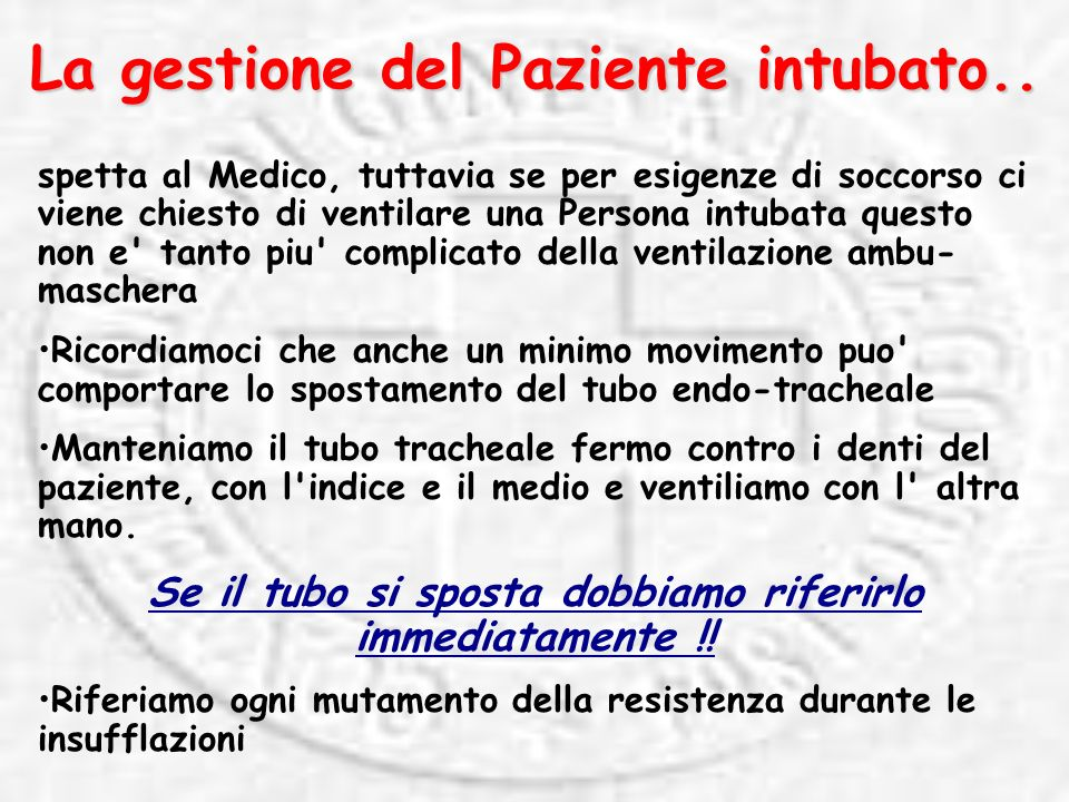 La gestione del Paziente intubato..