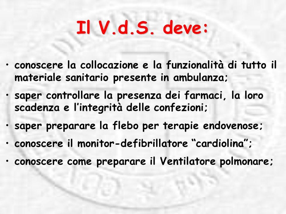 Il V.d.S. deve: conoscere la collocazione e la funzionalità di tutto il materiale sanitario presente in ambulanza;