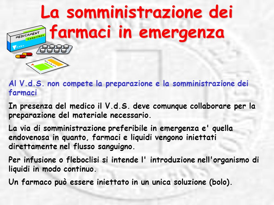 La somministrazione dei farmaci in emergenza