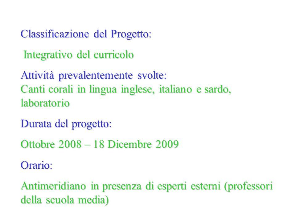 Classificazione del Progetto: