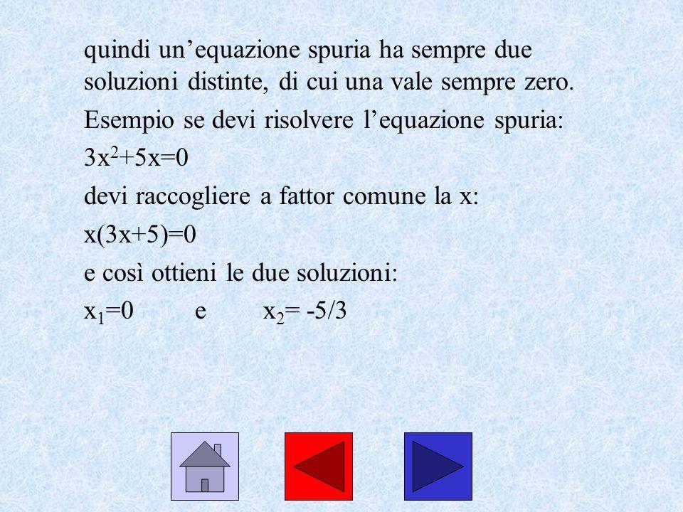 quindi un'equazione spuria ha sempre due soluzioni distinte, di cui una vale sempre zero.