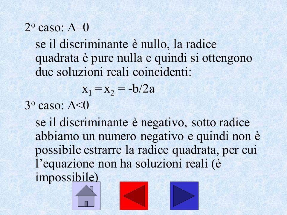 2o caso: =0 se il discriminante è nullo, la radice quadrata è pure nulla e quindi si ottengono due soluzioni reali coincidenti: